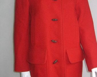 70s vtg red wool hooded duffle maxi coat