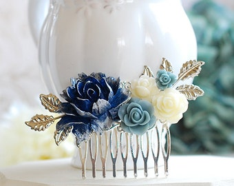 Silver Bridal Hair Comb Navy Blue Wedding Hairpiece Dark Blue Dusky Blue Ivory Rose Flower Silver Leaf Branch Comb Bridesmaid Gift