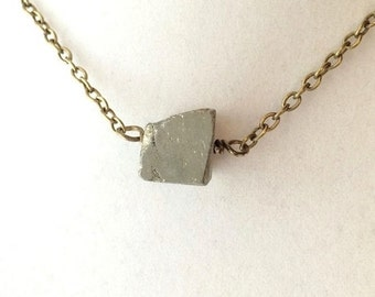 Raw Pyrite Cube Mineral Specimen & Bronze Chain Necklace