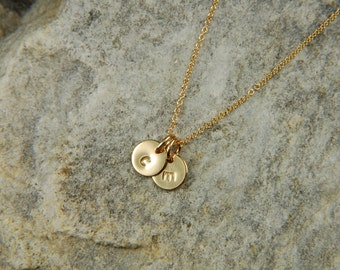 Tiny Gold Necklace Personalized Necklace Dainty Gold Necklace Hand Stamped Necklace Gold Initial Charm