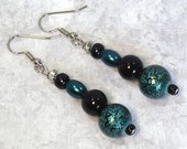 Teal & Black Earrings: Bold Dangle Earrings, Woman's Beaded Earrings, Nickle-Free Earwires, Handmade in the USA, Ready to Ship