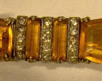 Art Deco Amber and White Rhinestone  Bowtie Pin 1920s
