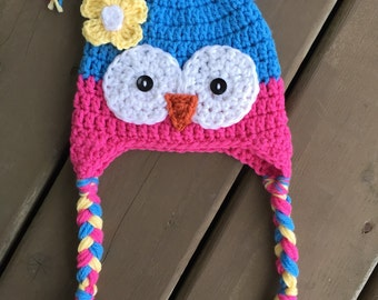 Cute Owl Hat, Baby Girl Owl Hat, Girl Owl Hat, Newborn Photo Prop, Kids Owl Hat, Owl hat with braids
