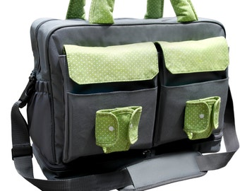 Large Diaper Bag, Twin Diaper Bag, Double Stroller Bag, Two sections Inside,   Extra Large  Changing Pad and Wet Bag
