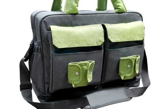 large diaper bag twin diaper bag double by theyellowpacifier. Black Bedroom Furniture Sets. Home Design Ideas