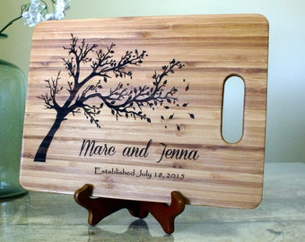 Wedding Gift Cutting Board Personalized Custom Chopping Block Established Date Engraved Bamboo Cheese Tray