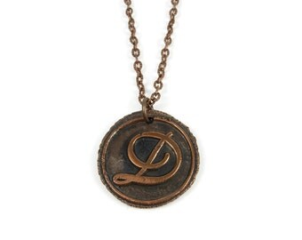 Letter D Necklace | Wax Seal Initial Pendant Necklace in Copper | Double-Sided Letters | Handcrafted Personalized Monogram Jewelry