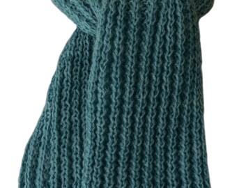 Knit Scarf - Jade Green Sweet Georgia Silk Cashmere Wind River Rib