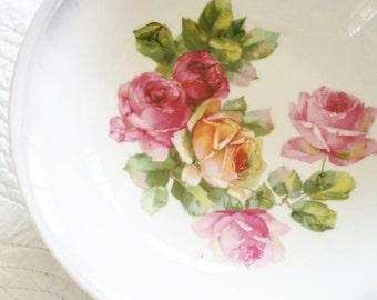 Vintage Cottage Home Lavender Blush, Celadon Green, and Pomegranate Rose Adorned Bowl, Olives and Doves