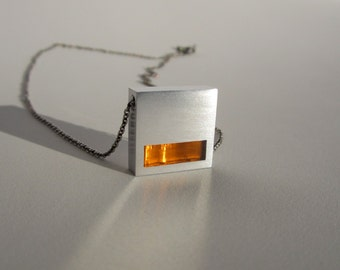 Minimalist Orange Necklace – Minimalist Jewelry – Modern Jewelry –Geometric Jewelry – Contemporary Jewelry