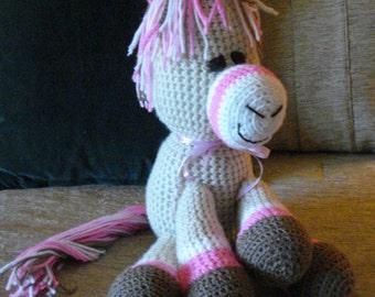 "Crocheted pony horse stuffed animal doll  toy ""Hattie"""