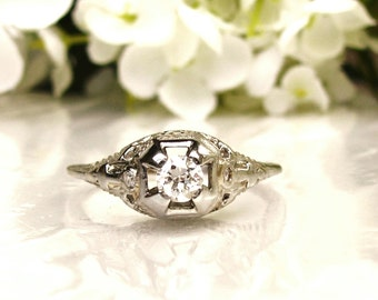 Antique Engagement Ring Old European Cut Diamond 18K White Gold Filigree Ring 0.29ctw Diamond Wedding Ring