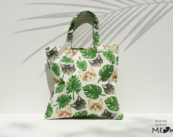 Free Shipping / CAT With Tropical Leafs Canvas Tote Bag /Cat Tote bag / Cat Lover Tote / Market Tote Bag / Shopping Bag / Eco-Friendly