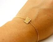State Bracelet w/ Initial, Rose Gold Initial Bracelet, Letter Bracelet Ohio, Indiana Bracelet, Oregon Bracelet California Bracelet Minnesota