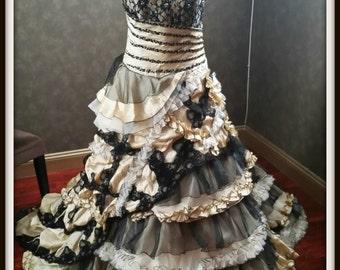 Steampunk Black and Champagne Wedding Dress Vintage Goth