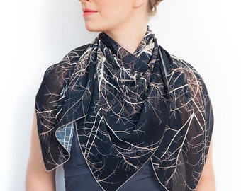 Branches scarf, Tree Scarf, Printed scarf, Wearable art, square Scarf, Photo scarf, dark scarf, trending item, gift for her, luxury gift