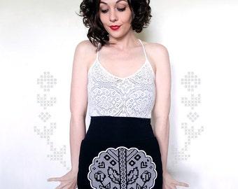 Symmetrical Rose on a Vine-Leaves and Hearts-High-Waisted-American Apparel Skirt-Black Mini Skirt-Eco Friendly-EmilyHaworth-bybeep