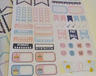 Midnight Flowers Planner Sticker Sampler- Set of 45 Planner Stickers (080)