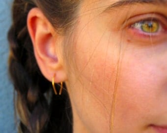 Gold Upside Down Teardrop Hoop- Horse Shoe Earrings-Minimal Earrings-Silver-Gold-Rose Gold-Oxidized Silver
