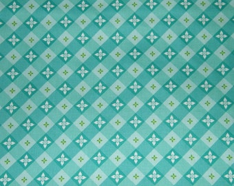 BTY TEA on the TERRACE Jade Print 100% Cotton Quilt Craft Fabric by the Yard