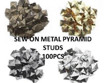 CraftbuddyUS 100pcs GOLD Metal 7mm PYRAMID STUD sew on stitch on stick on Embellishments