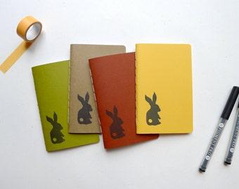 SALE - Rabbit Jotter / Bunny Notebook / Woodland Animal Pocket Journal / Plain or Graph Paper