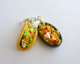 Beef Taco, Nacho Chips with Cheese, Miniature Food Jewelry, Handmade Charm Set