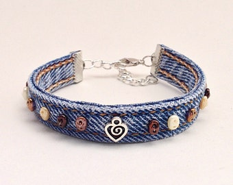 Brown Beaded Wrap Bracelet, Denim Cuff Bracelet, Blue Jean Upcycled Eco Friendly Fabric, Adjustable Braclet Heart Charm, Bohemian Jewelry