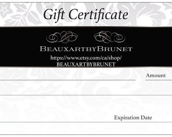 Gift Certificate for an original customized painting