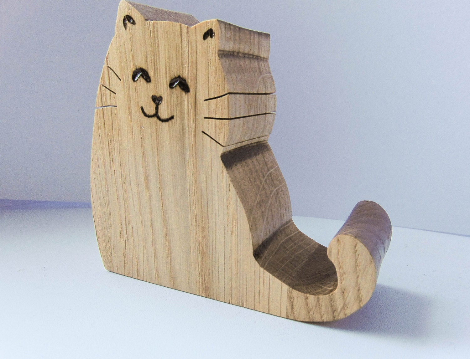 Wooden Phone Stand ~ Cat phone holder desk tablet