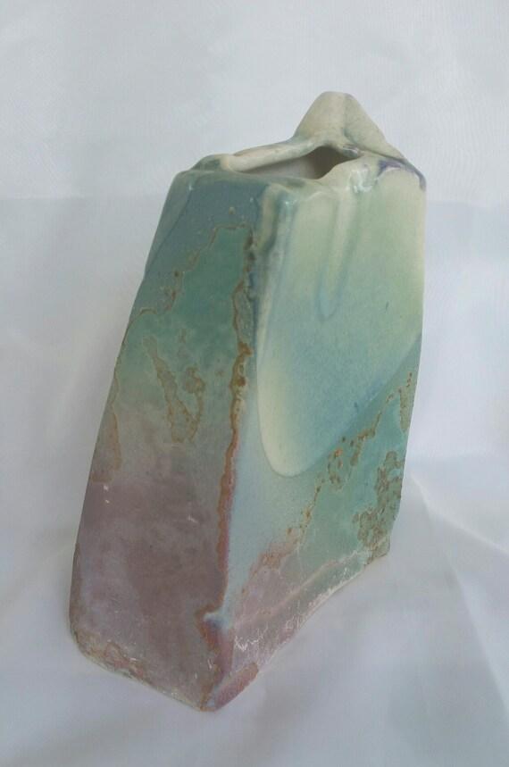 Signed Art Pottery Tony Evans Vase Brutalist Raku