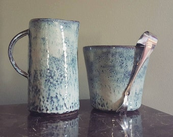 Pitcher & Ice Bucket - Pottery Barware Set