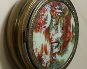 60's/70's Metal Powder Compact With Cottage Garden Scene