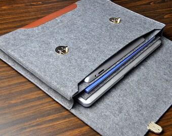 Leather laptop sleeve ,MacBook pro 17 case,Felt laptop case,laptop bag 17 inch,MacBook pro sleeve, laptop sleeve Briefcase case. 5B119