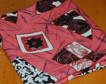 "Vintage Rayon Fabric Yardage, 54"" Wide, Coral, Tan, Black"