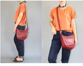 Red Coach Leather Shoulder Bag - Vintage 1990s Coach Leather Cross Body Bag Purse - Vintage Dark Red Coach Leather Crossbody Purse