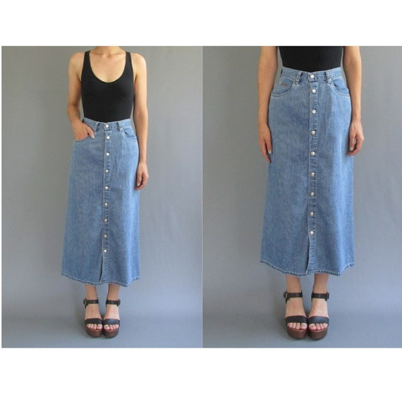 90s Calvin Klein XS Long Button Front Denim Skirt 1990s