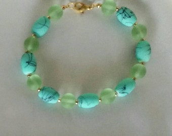 Teal and Green Glass Bracelet