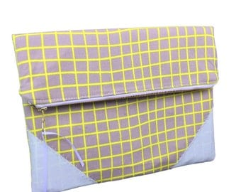 Australian made clutch, zipper clutch, grid pattern yellow, ykk zipper, slim clutch, grey clutch, autumn trend, fall trend, handmade wallet