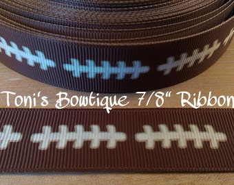 "Football Thread 7/8"" Printed Grosgrain Ribbon, Hairbow Ribbon, Craft Supply, Bow Supply, Sports print ribbon, football ribbon"