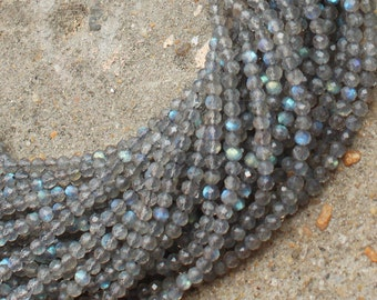 AAA 2.8 mm Labradorite Beads Strand Natural stone 13 inches length Top Quality Diamond Cut Rounds Faceted QB-12