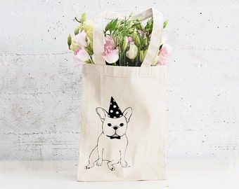 French Bulldog Canvas Tote Bag / Gift for French Bulldog / Dog Canvas Bag/ Gift for Frenchie/ Heavy Canvas Tote Bag/ Screen Printed Tote Bag