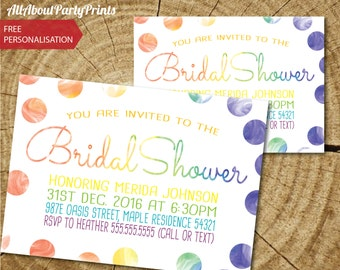 Rainbow bridal shower Invitation-Invitation Printable- JPEG Format printables