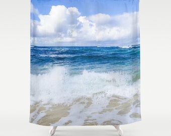 ocean shower curtain tropical blue and white ocean hawaii beach shower curtain
