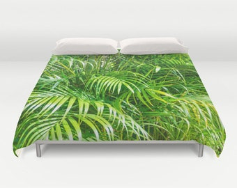 Palms Duvet Cover, Personalized, Hawaiian duvet cover, tropical duvet cover, Green bedding, tropical Bedding, bedroom decor, decorative