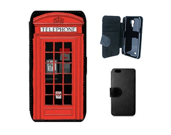 Wallet case iPhone 6S 6 SE 8 7 Plus, X 5S 5C 5 4S, Samsung Galaxy wallet S8 Plus S6 S7 Edge, S5 S4 Mini, British London red phone box. F195