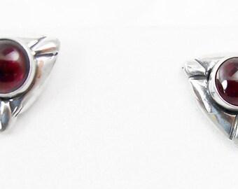 925 Silver Garnet Post Earrings