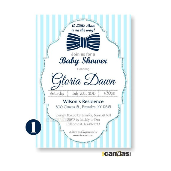 Bow Tie Baby Shower Invitations Baby Blue White Stripes Silver