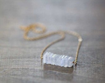 Square Rainbow Moonstone Bar Necklace on Rose Gold Filled, Oxidized Sterling or Sterling Silver Chain, Delicate Moonstone Jewelry