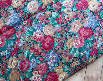 Vibrant Floral Fabric - Over 3 Yards - Red Roses